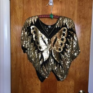 Vintage Gold Butterfly Sequined Top 🦋 Size Small